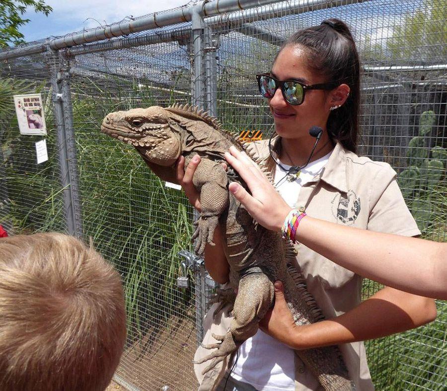 Woman holding Iguana