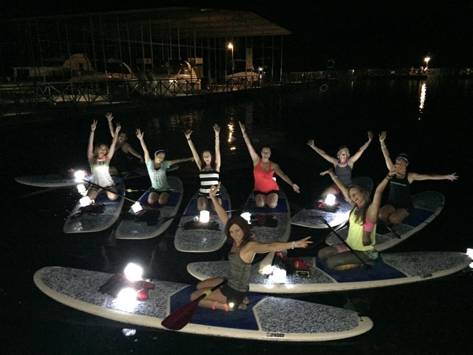 Nigh paddleboarding on Lake Pleasant