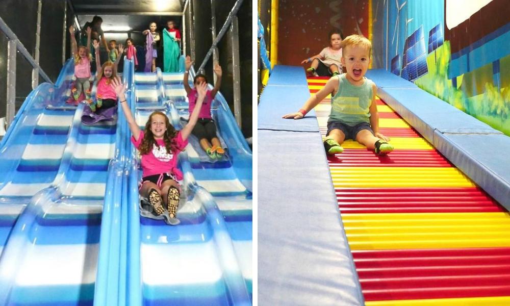 Kids playing on slides at Uptown Jungle in Mesa, AZ